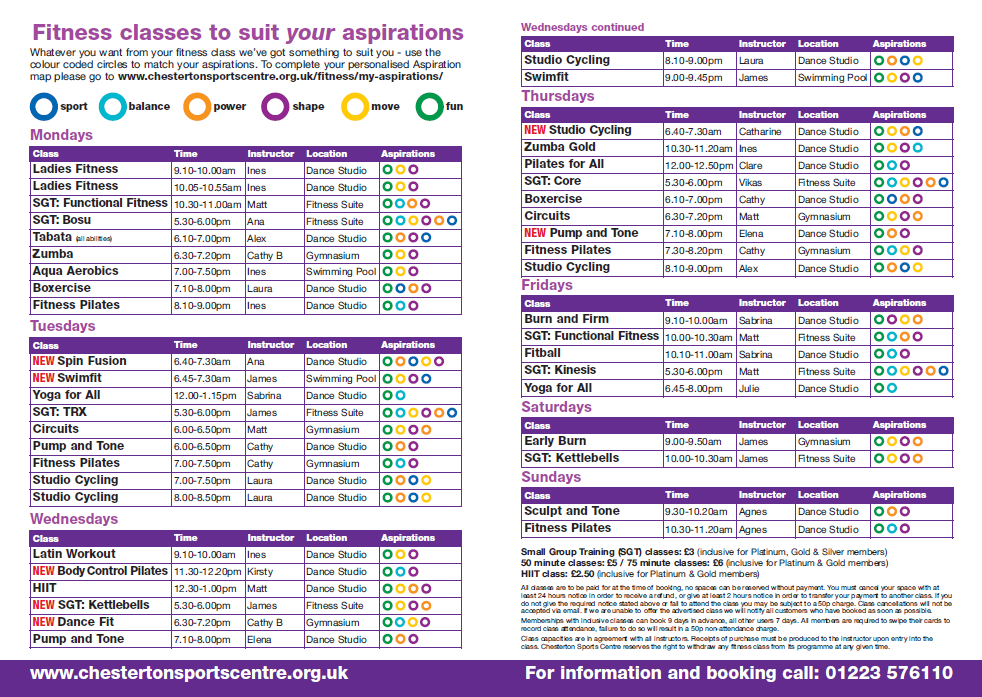 fitness classes timetable april 16 1