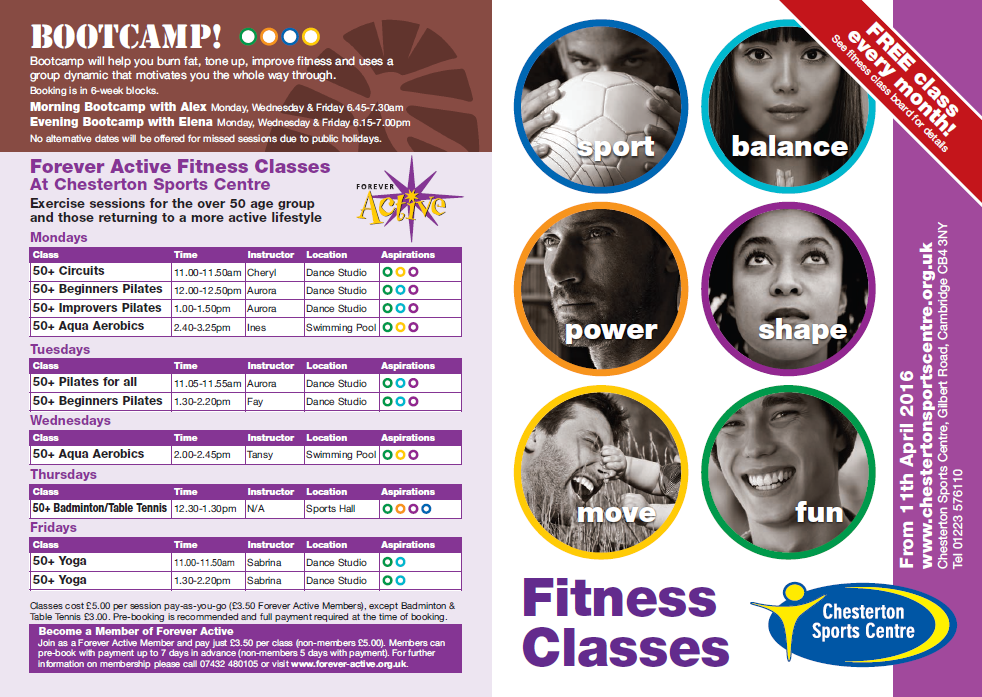 fitness classes timetable april 16 2